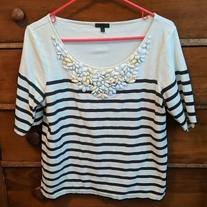 Striped blouse with bead embellishment